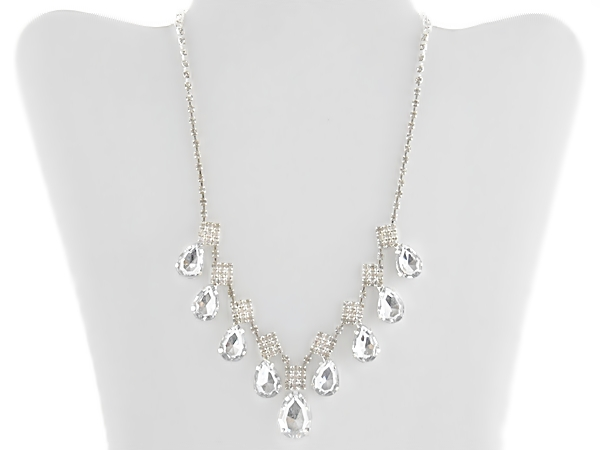 Rhinestone Teardrop Bib Necklace Set with Matching Rhinestone Post Earrings.
