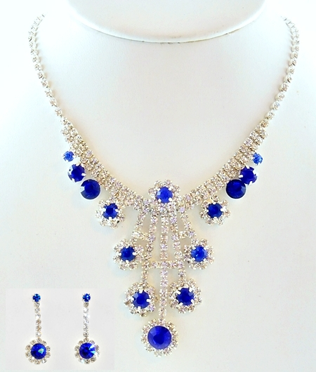 '.Blue Rhinestone Necklace Set.'
