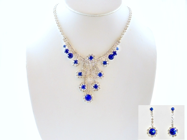 Blue and Clear Rhinestone Necklace & Earrings