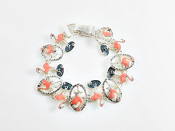 Pink Flamingo Silver Link Bracelet
