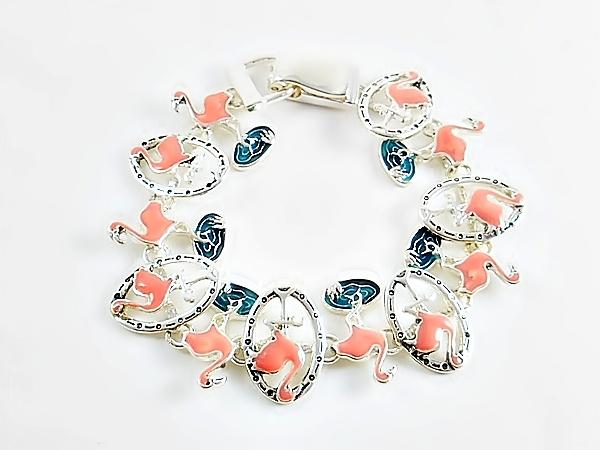 '.Pink Flamingo Link Bracelet.'