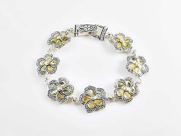 Flower Bracelet Multi-color Natural Shells in Silver Trim
