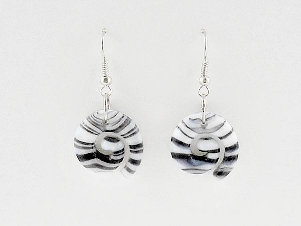 Black and White Glass Stripe Swirl Dangle Earrings