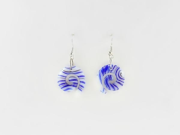 Blue and White Glass Stripe Swirl Dangle Earrings