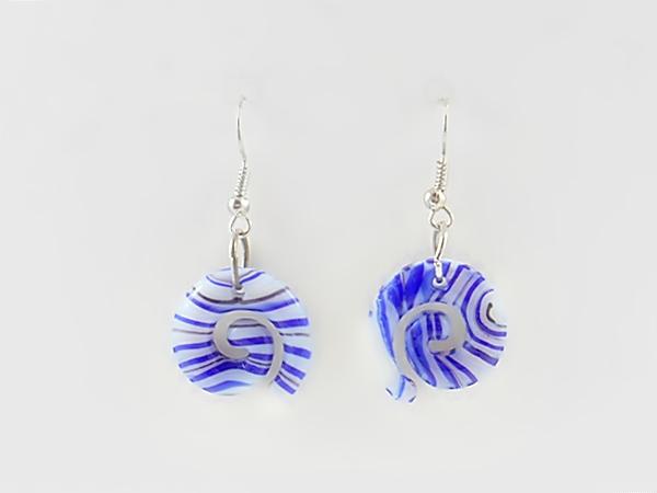 '.Blue Stripe Dangle Earrings.'