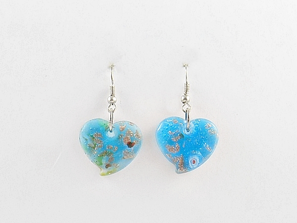 Glass Heart Blue and Gold Dangle Earrings