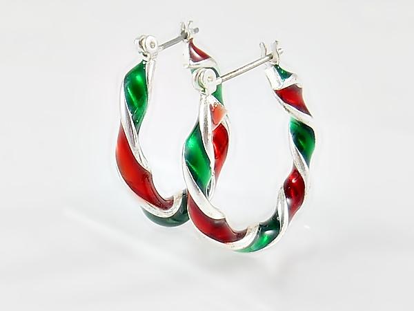 Christmas Red Green Silver Twisted Hoop Earrings
