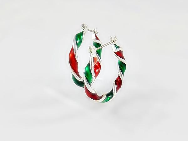 '.Christmas Twisted Hoop Earring.'
