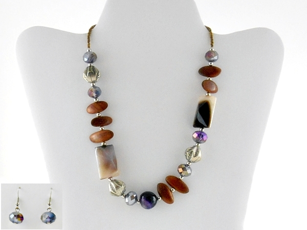 Brown and Purple Beaded Necklace and Earrings