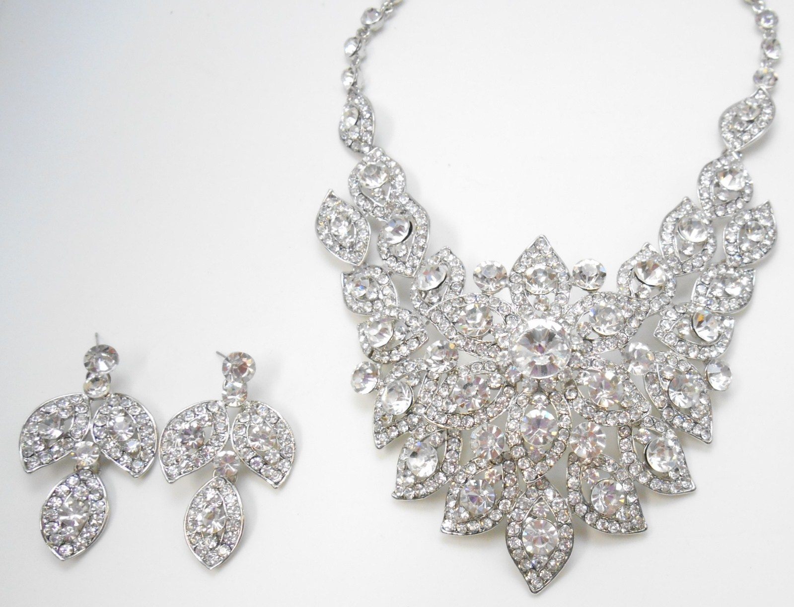 rhinestone silver flower cluster formal bib statement