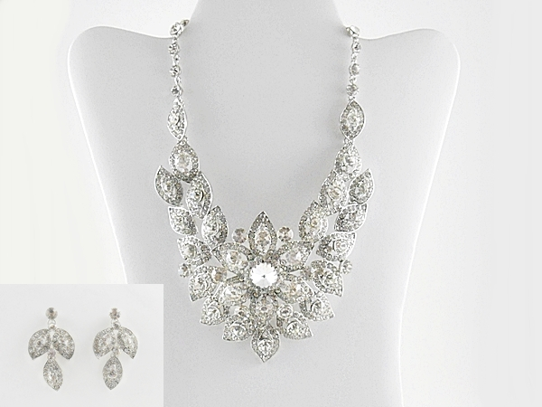 Rhinestone Silver Flower Cluster Formal Bib Statement Necklace and Earrings