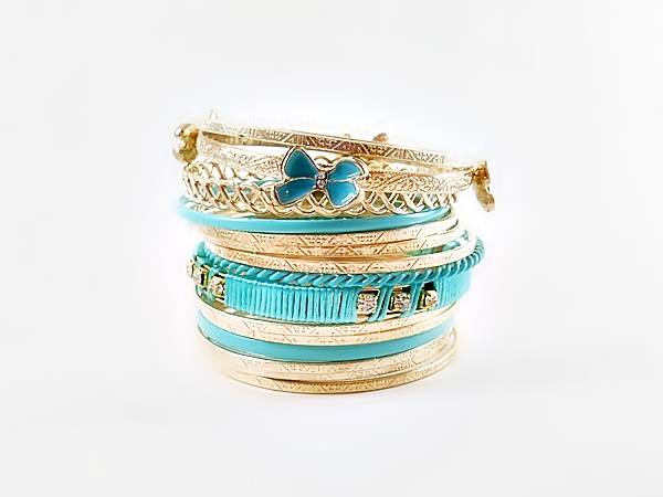 Butterfly Turquoise and Gold Multi Mixed Bangle Bracelet Set