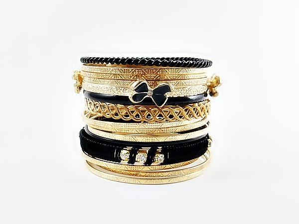 Butterfly Black and Gold Multi Mixed Bangle Bracelet Set
