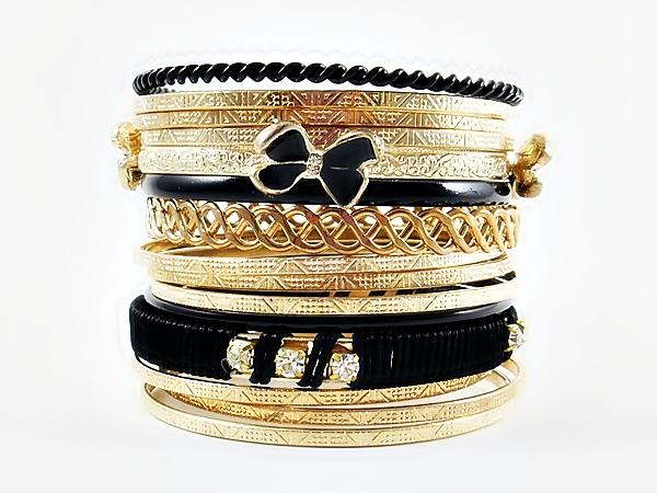 '.Black and Gold Bangle Bracelet.'
