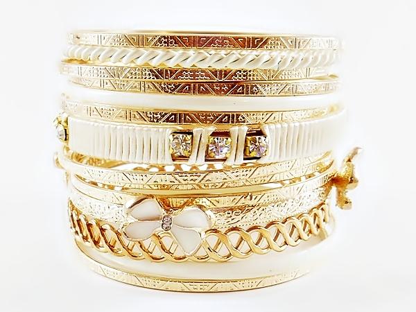 '.Gold and White Bangle Bracelet.'