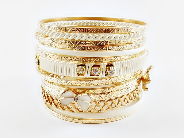 Butterfly White and Gold Multi Mixed Bangle Bracelet Set