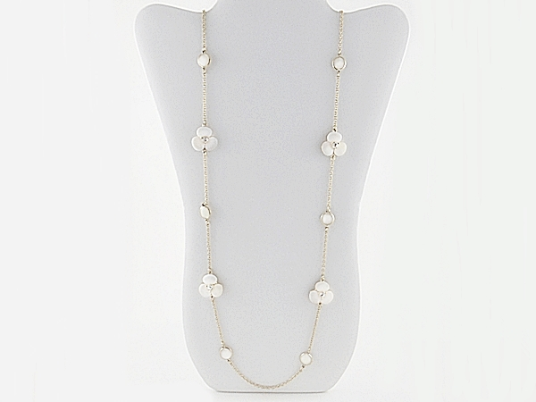 White Shell Stone Flower Mini Cuff Gold Bracelet
