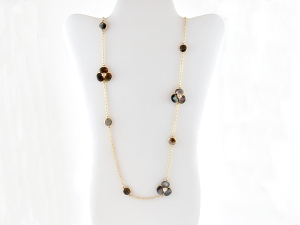 Black Pearl Shell Flower Long Gold Chain Necklace