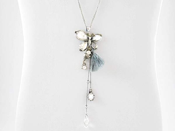 Butterfly Pendant Gray Tassel Necklace Antiqued Silver