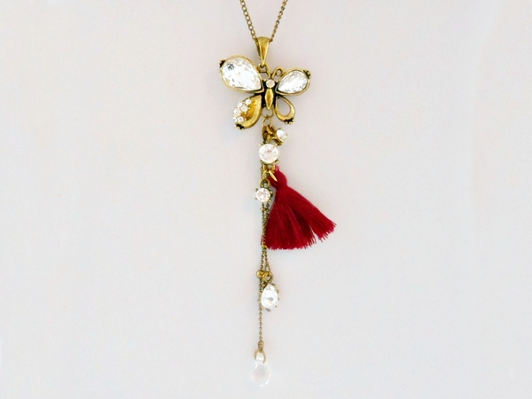 Butterfly Pendant Necklace Antiqued Gold Burgundy Tassel