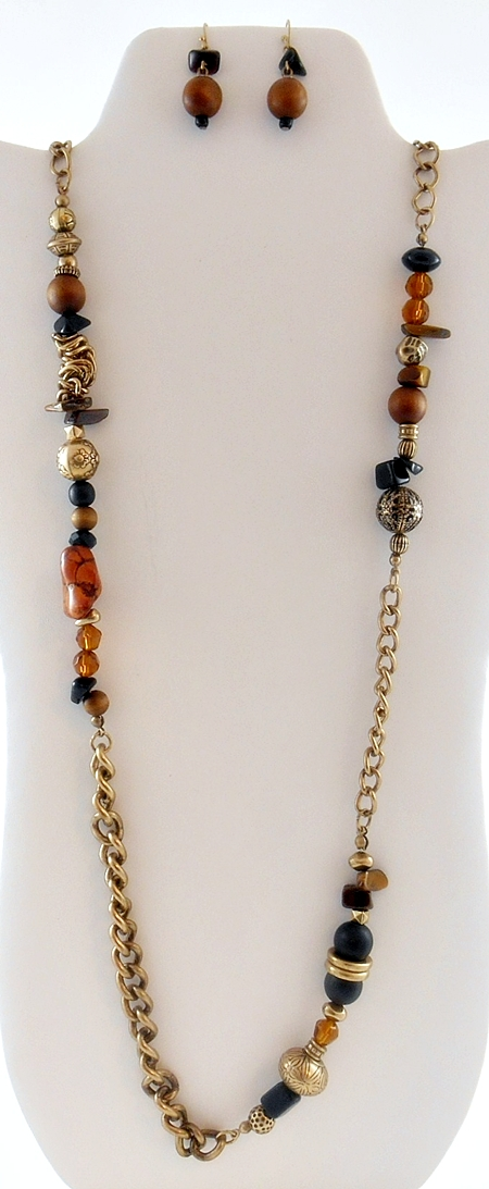 '.Brown Beaded Chain Necklace.'