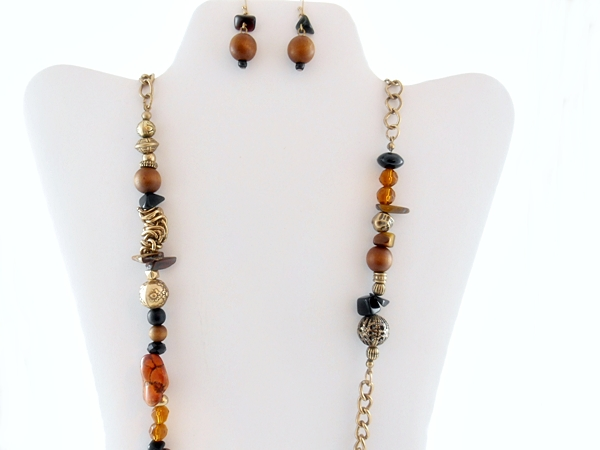 Brown and Gold Long Beaded Chain Station Necklace and Earring Set