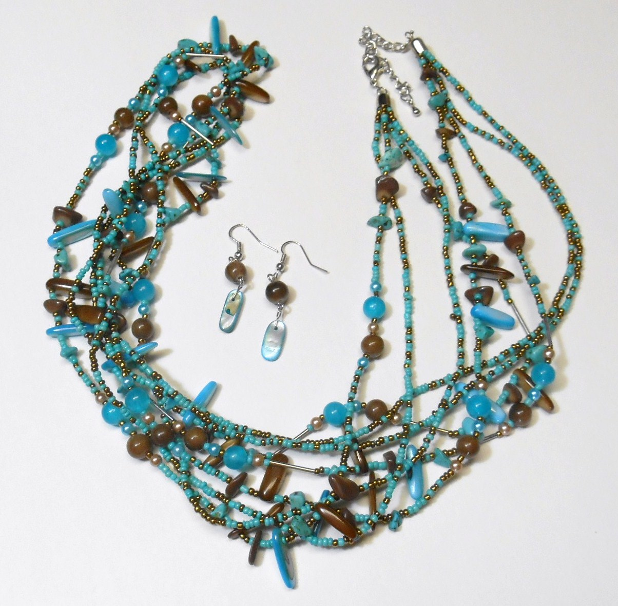 turquoise and brown beaded necklace multi strand