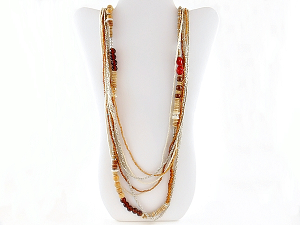 Brown Mixed Bead Multi Strand Long Necklace
