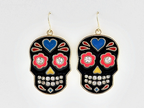 Black Painted Skull Dangle Earrings with Rhinestone Accents