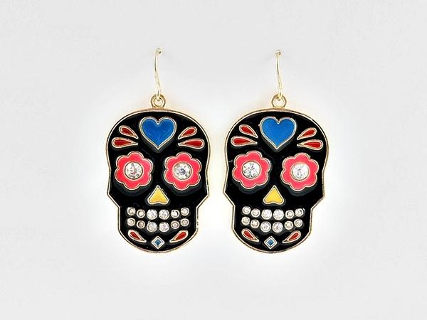 '.Black Skull Dangle Earrings.'