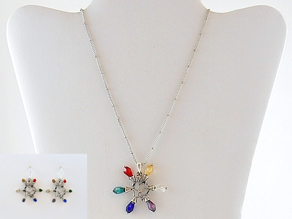 Christmas Lights Holiday Necklace and Earrings Silver Multi Color Beaded
