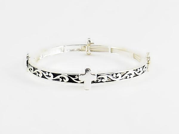 Cross Bracelet Antiqued Silver Filigree on Black