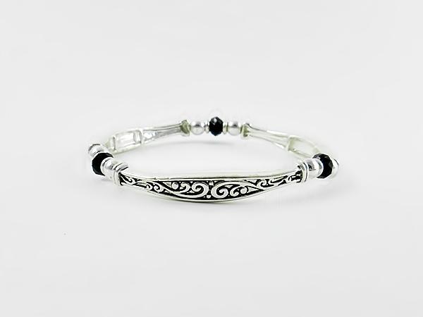 Black and Silver Filigree Stretch Stackable Bracelet