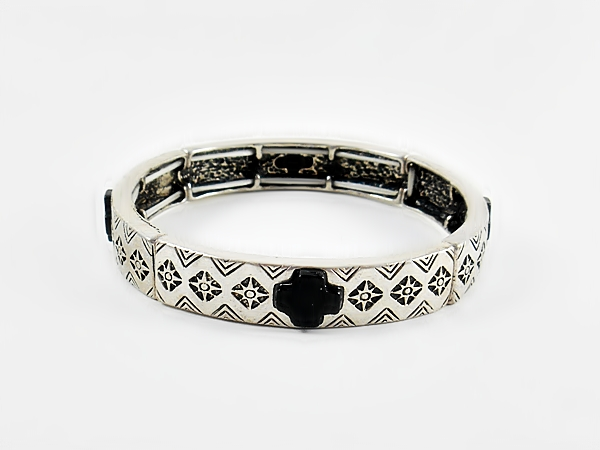 Black and Silver Cross Bracelet
