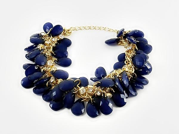 Dark Blue Cluster Beaded Gold Chain Bracelet
