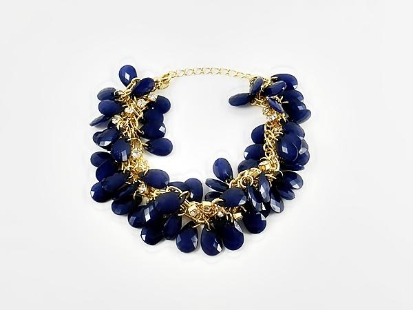'.Blue Cluster Bead Bracelet.'