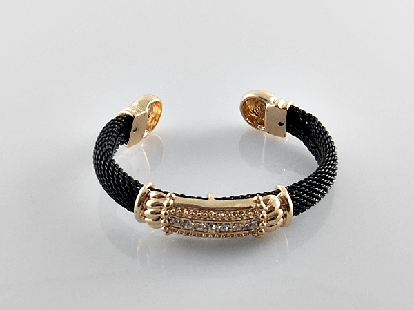'.Black and Gold Cuff Bracelet.'
