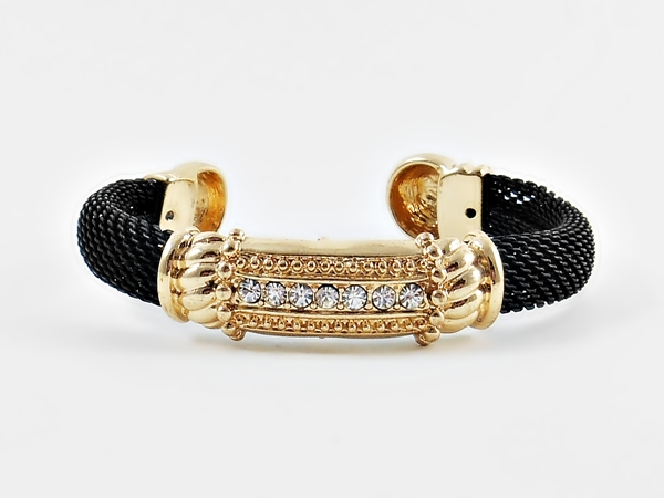Black and Gold Cuff Bracelet Crystal Accents