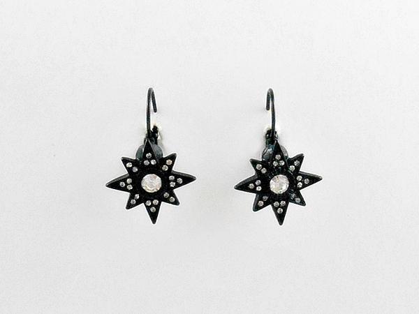 Black Star Earrings Rhinestone Accents Omega Closure