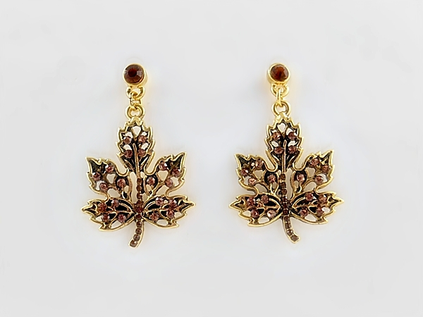 Brown Crystal and Gold Maple Leaf Dangle Post Earrings