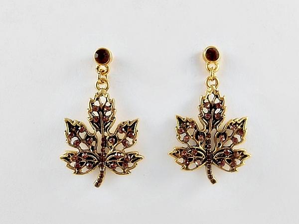 '.Brown Maple Leaf Earrings.'