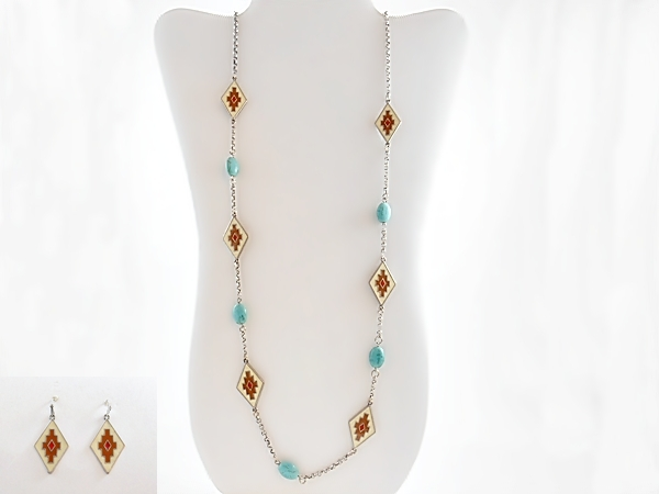 Cream Red and Turquoise Tribal Aztec Bead Station Necklace and Earrings