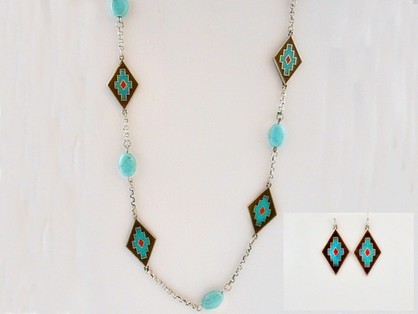 Aztec Turquoise Beaded Silver Chain Station Necklace & Earrings