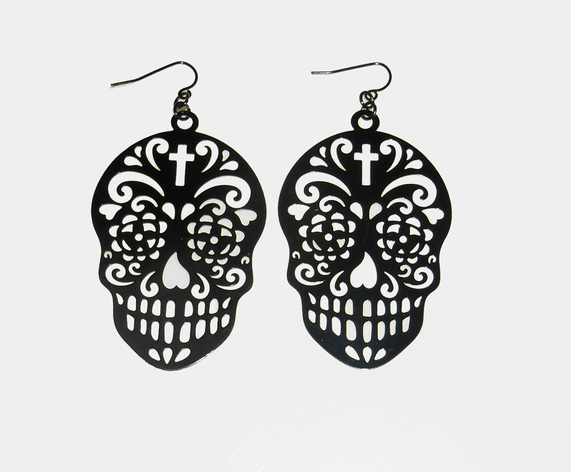'.Black Sugar Skull Earrings.'