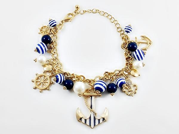 Navy Blue & White Anchor Nautical Charm Bracelet
