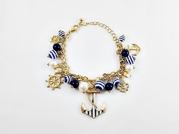 '.Navy Blue Anchor Bracelet.'