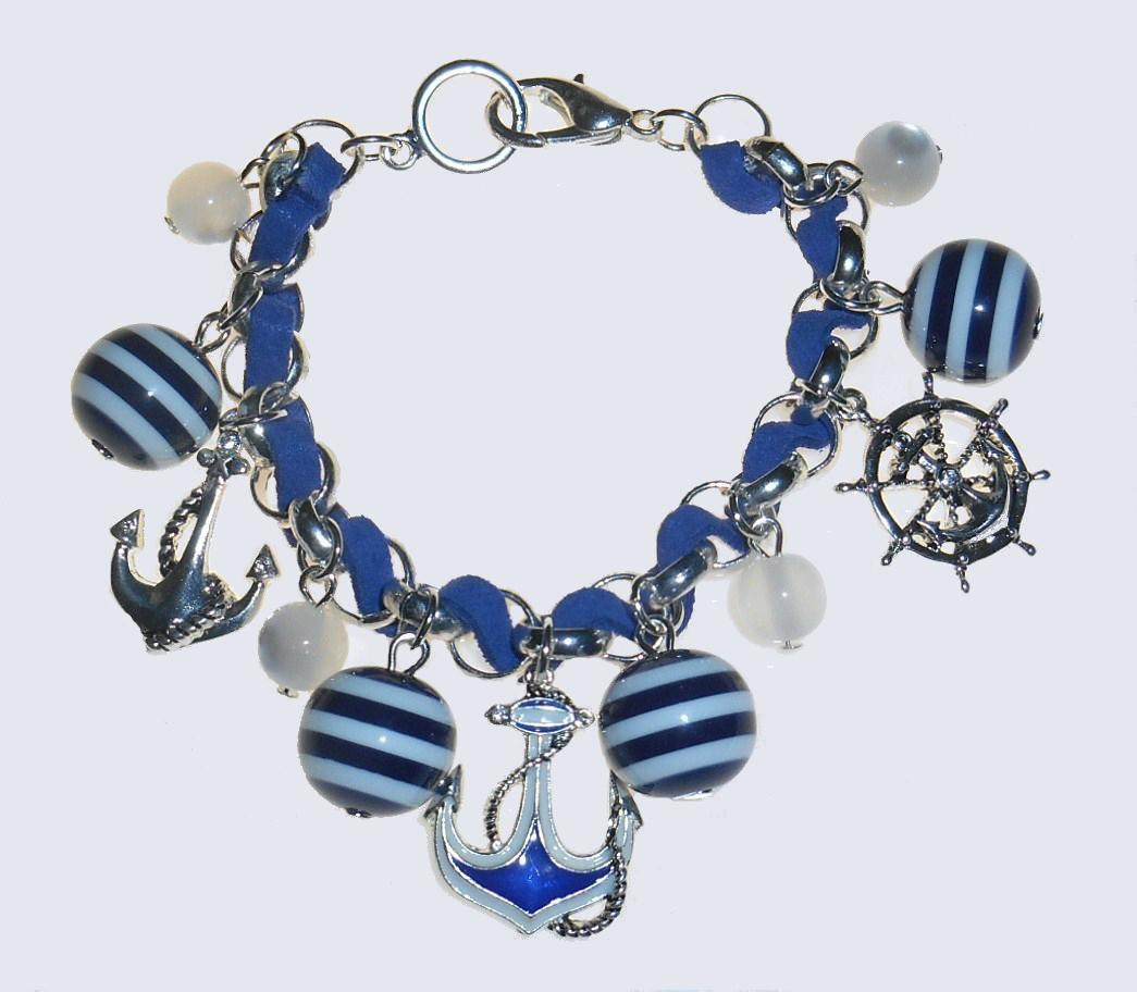 anchor wheel nautical charm bracelet navy blue and white