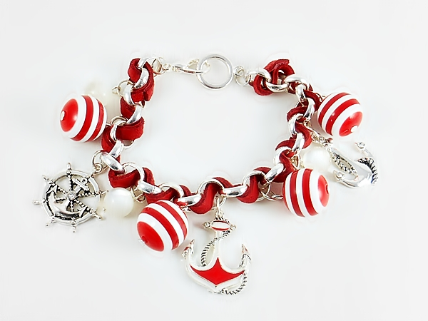Anchor & Wheel Nautical Charm Bracelet - Red and White