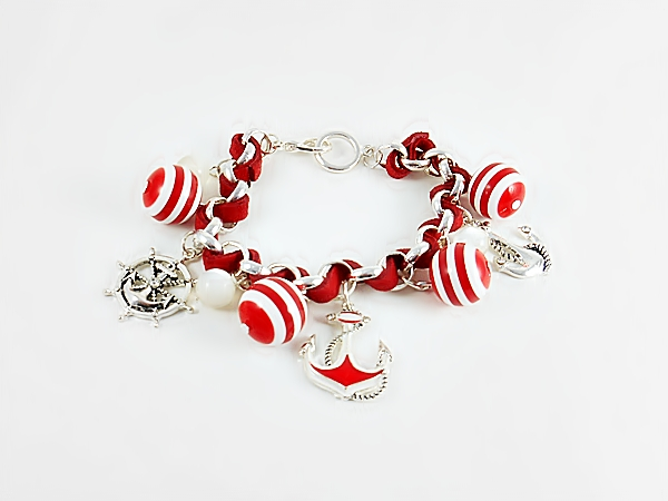 '.Red and White Anchor Bracelet.'