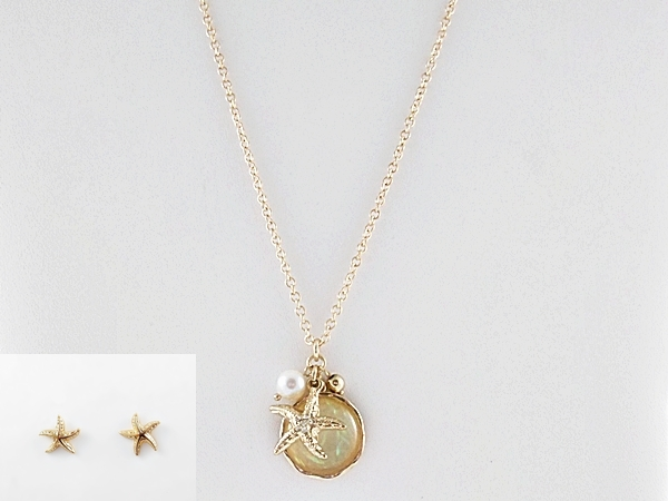 Gold Starfish White Iridescent Charm Necklace and Earring Set
